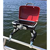 Cuisinart Grill Modified for Pontoon Boat with Arnall's Stainless Grill Bracket for Standard Railing with Open Fencing Set RE