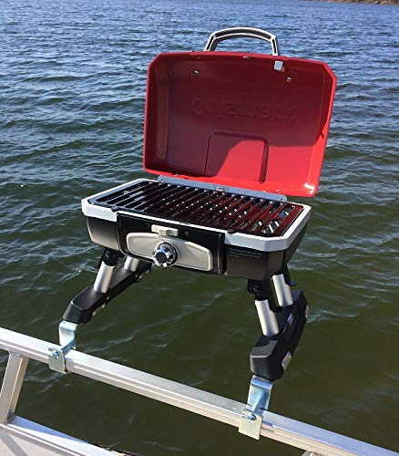 Cuisinart Grill Modified for Pontoon Boat with Arnall's Stainless Grill Bracket Set RED