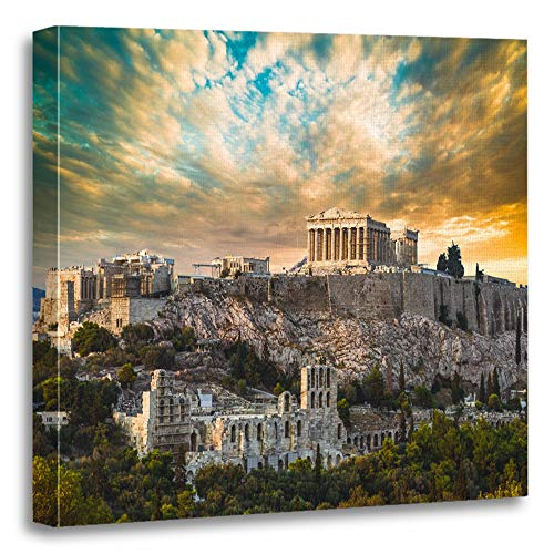 Emvency Painting Canvas Print Artwork Decorative Print Blue Ancient Parthenon Acropolis of Athens Under Dramatic Sunset Sky Greece Wooden Frame 12x12 inches Wall Art for Home Decor -