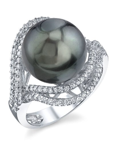THE PEARL SOURCE 18K Gold 12-13mm Round Genuine Black Tahitian South Sea Cultured Pearl & Diamond Clara Ring for Women