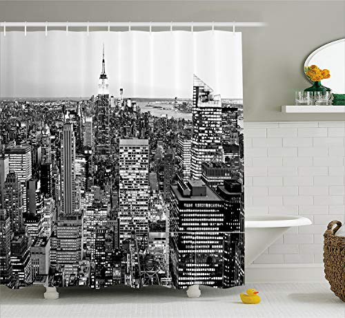 Ambesonne New York Shower Curtain, Panorama of Manhattan High Buildings of City Famous Monument USA Black and White Photo, Cloth Fabric Bathroom Decor Set with Hooks, 70