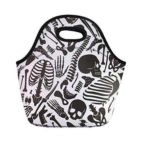 Semtomn Neoprene Lunch Tote Bag Pattern Human Skeleton Skulls Various Single Parts Bones Rock Reusable Cooler Bags Insulated Thermal Picnic Handbag for -