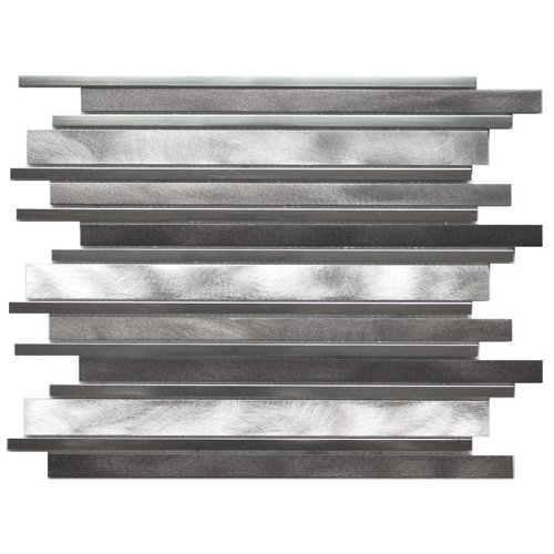 Long Random Bar Silver Pewter And Chrome Aluminum Tile - Kitchen Backsplash / Bath Backsplash / Wall Decor / Fireplace (Pewter Wall Tiles)