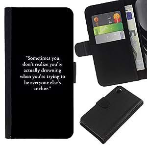 EJOY---La carpeta del tirón la caja de cuero de alta calidad de la PU Caso protector / Sony Xperia Z3 D6603 / --inspirada de motivación negro texto
