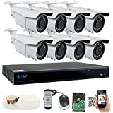 GW 5 Megapixel HD 1920P Complete Security System | (8) x 5MP Outdoor 3.3-12mm Varifocal Zoom Bullet Security Cameras, 8-Channel Plug and Play 5-In-1 DVR, True 5MP Double the resolution of HD 2MP 1080P