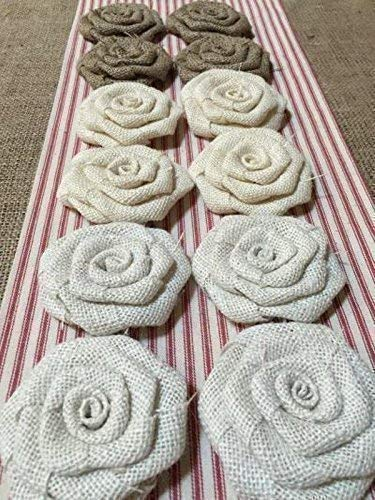 Set of 12 Burlap Flowers in Shades of Neutral 3.5'' Diameter Flowers Natural, Ivory and White Burlap Rustic Wedding Cake Top Table Centerpiece Baby Shower Decor Wreath