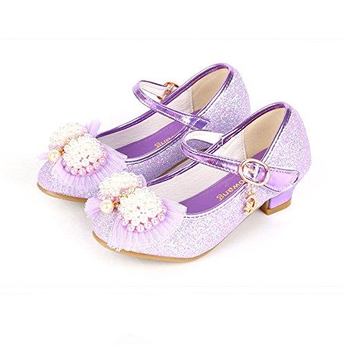 Fancyww Kids Dress Shoes Rhinestone Strap Low Heel Mary Jane Girls Pumps(Purple-32/1 M US Little Kid) (Mary Shoes Sole Pump Jane)