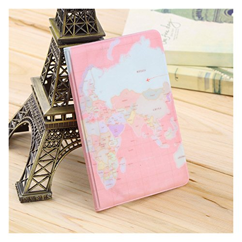 Translucent Pvc Card (Travel Passport Holder Protect Cover Case Organizer with Map Pattern,Pink)