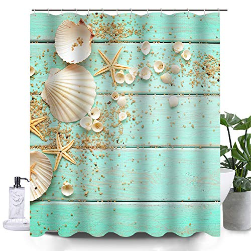 Uphome Beach Fabric Shower Curtain, Aqua Seashell and Starfish on The Coastal Cloth Shower Curtain Heavy Weighted Waterproof, Batower Curtain Heavy Weighted Waterproof, Bathroom Sea Decorations, 72x72 (Curtain Fabric Bold)
