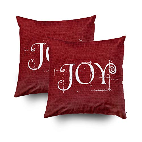 Capsceoll 2PCS holiday christmas joy burlap decor Decorative Throw Pillow Case 20X20Inch,Home Decoration Pillowcase Zippered Pillow Covers Cushion Cover Words Book Lover Worm Sofa Couch