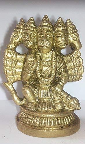 G S & C O Pachmukhi Sitting Hanuman Hindu Monkey God Panchmukhi Hanuman Brass Statue 109