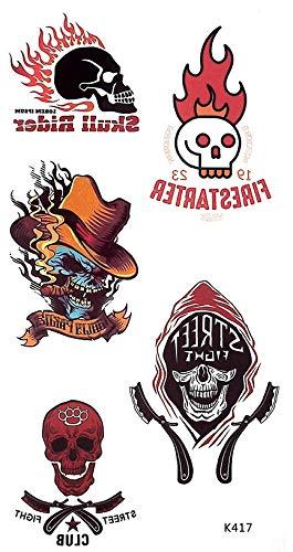 tatuajes para fiesta de estilo motero, calavera, tatuajes para ...