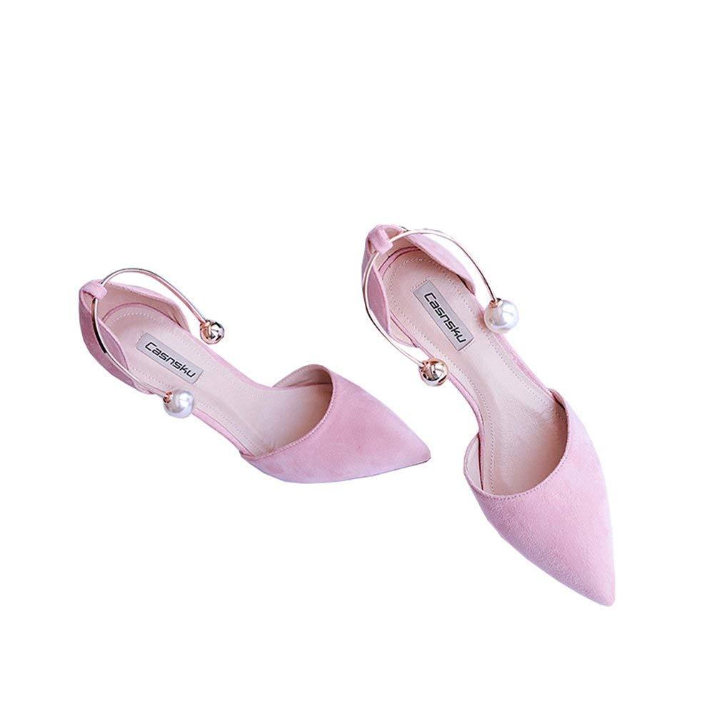 66eca27d482631 Chaussures 8cm, 10cm Rose Rose Rose Europe et États-Unis  Été Perle Pied Anneau Boucle Talons Hauts, Sexy Wild Pointu  Fine avec des s ...