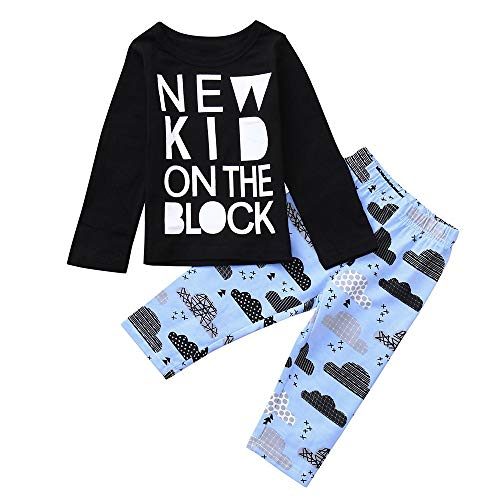 (Londony Clearance Sales! 2PCS Toddler Baby Letter Print Top Blouse+Cartoon Print Pants Set Outfit)