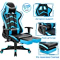 Furmax Gaming Chair High Back Office Racing Chair Ergonomic Swivel Computer Chair Executive Leather Desk Chair With Footrest Bucket Seat And Lumbar Support Blue
