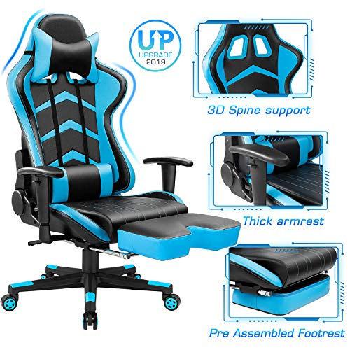 Furmax Gaming Chair High Back Office Racing Chair, Ergonomic Swivel Computer Chair Executive Leather Desk Chair with Footrest, Bucket Seat and Lumbar Support Blue