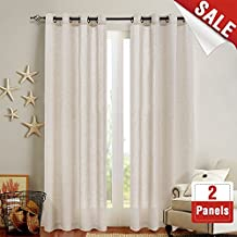 Linen Textured Curtains for Bedroom 84 inch Length Flax Linen Blend Textured Curtain Panels Window Curtain Drapes for Living Room Crude 2 Panels