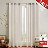 Linen Textured Curtains for Bedroom 95 inch Length Flax Linen Blend Window Curtains for Living Room Window Treatment Set Grommet Top – Crude 2 Panels For Sale
