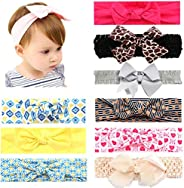 Baby Girl Headband Bows 9 PCS Newbron Knotted Hairband for Turban Infant Toddler