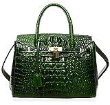 PIJUSHI Women's Padlock Handbags Genuine Leather Tote Crocodile Bag Best Holiday Gift P10103 (30CM crocodile green)