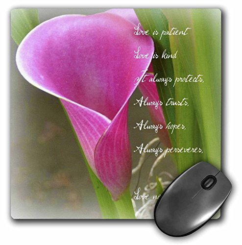 Price comparison product image 3dRose LLC 8 x 8 x 0.25 Inches Love is Patient Pink Calla Lily Flower Photography Inspirational Pattern Mouse Pad (mp_49760_1)