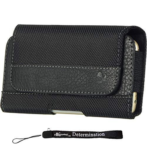 Sport Nylon Leather Black Horizontal Hip Sleeve Case [CEL962] For Samsung Galaxy A5 / A8 / J7 / Note 5 / S6 Edge+ + eBigValue HandStrap