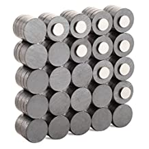 Muscle Magnet! COMBO PACK 110 Units, HIGH STRENGTH Ferrite 20mm x 5mm, and Neodymium 10mm x 2mm Disk Magnets for Crafts, Hobbies, Whiteboard, Fridge Magnets, Camping, Science Projects, Home & Office Organization, and More!