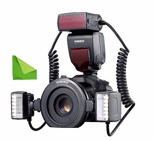 (YONGNUO YN-24EX Macro Ring Flash Speedlite with 2 Flash Head 4 Adapter Rings for Canon, with MicroFiber)