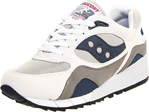 Saucony Originals Mens Shadow 6000 Cushion Sneaker, blanco/gris/azul marino, 48 D(M) EU/12 D(M) UK
