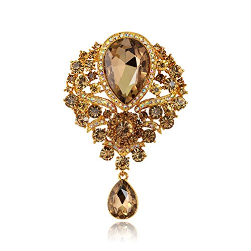 Axmerdal Wedding Bridal Big Crystal Rhinestone Bouquet Brooch Pin for Women (Gold)