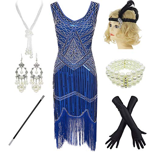 1920s Gatsby Sequin Fringed Paisley Flapper Dress with 20s Accessories Set (L, Blue)
