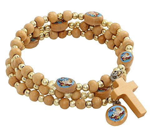 Catholic & Religious Spiral Wrap Wooden Rosary Bracelet with Blue Angel Medals, 2 Inch