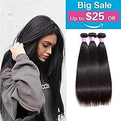 Original Queen 8A Grade Brazilian Straight 3 bundles Deal Silky Straight Virgin Human Hair Weave Extension Mixed Lengths Natural Color 12 14 16 Inches