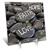 3dRose Andrea Haase Still Life Photography - Black Pebble With Engraved Words Love Faith Hope - 6x6 Desk Clock (dc_268540_1)