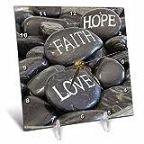 3dRose Andrea Haase Still Life Photography - Black Pebble With Engraved Words Love Faith Hope - 6x6 Desk Clock (dc_268540_1)