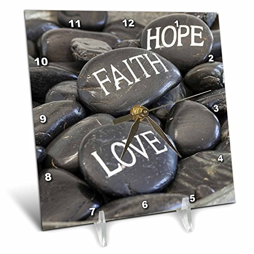 3dRose Andrea Haase Still Life Photography - Black Pebble With Engraved Words Love Faith Hope - 6x6 Desk Clock (dc_268540_1) by 3dRose