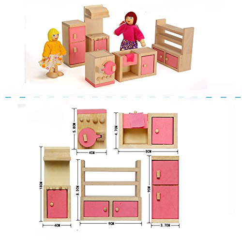 Kids Bedroom Furniture Kids Wooden Toys Online: Wood Family Doll Dollhouse Furniture Set, Pink Miniature