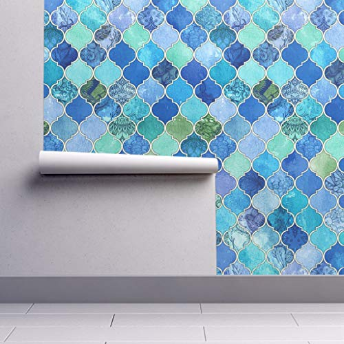 Peel-and-Stick Removable Wallpaper - Blue Moroccan Moroccan Moroccan Cobalt Patchwork Ogee Watercolor by Micklyn - 12in x 24in Woven Textured Peel-and-Stick Removable Wallpaper Test Swatch