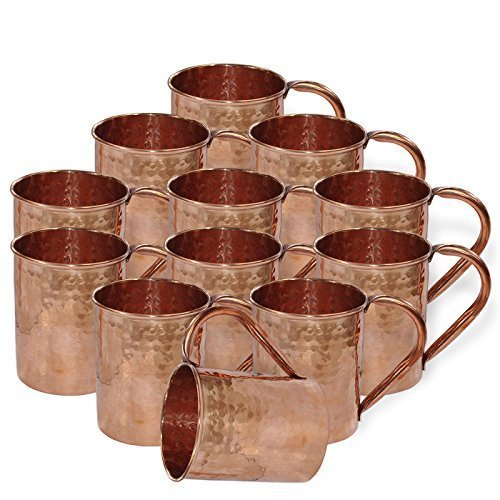 Panchal Creation Drinkware Accessories Hammered Copper Moscow Mule Mug,Set of 12