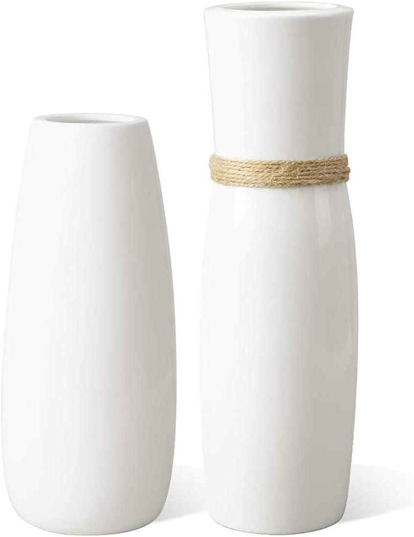 2Pcs White Ceramic Vases Decorative Vase Mantel Decorations Modern Farmhouse Decor, Flower Vase with differing Unique Rope Design for Shelf Decor Home Accents Décor Fireplace Decor Table decor