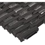 """Durable Corporation 108 Recycled Tire-Link Anti-Fatigue Mat, for Wet Areas, Straight Weave, 8"""" Width x 22"""" Length x 5/8"""" Thickness, Black"""