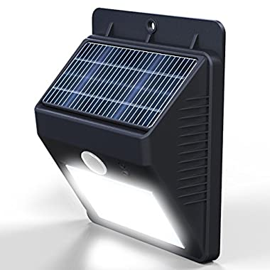 Vont Outdoor Waterproof Solar Motion LED Light, Security Lights, Wall Light, Black