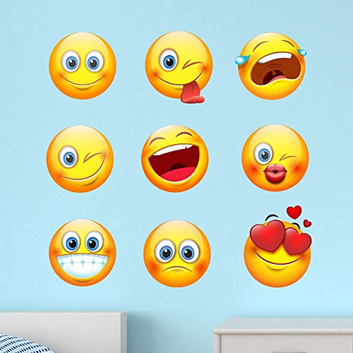 Large Emoji Emoticon Faces Peel and Stick Fabric Wall Decal Sticker Graphic Removable and Reusable (Each Decal 8 inches Wide)) (Set of (Each Fabric)
