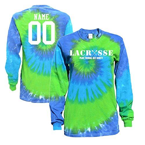 JANT girl Custom Lacrosse Blue Green Tie Dye Long Sleeve T-Shirt Lacrosse Logo – DiZiSports Store