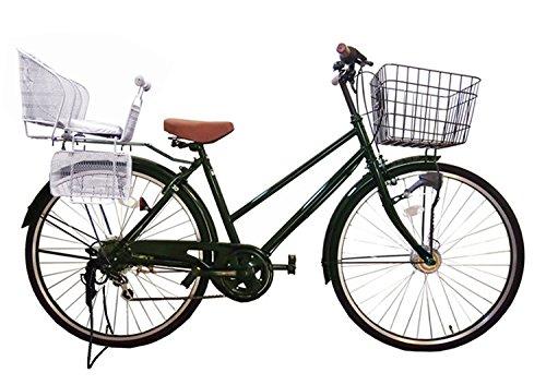 Lupinusルピナス 自転車 26インチ LP-266TA-knr-s シティサイクル シマノ製外装6段ギア オートライト 後子乗せシルバー B073LNB64K グリーン グリーン