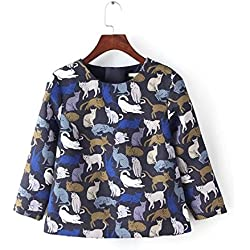 Michael Palmer Women NEW Spring fashion elegant cat print blouses O-neck three quarter zipper shirt Blue M