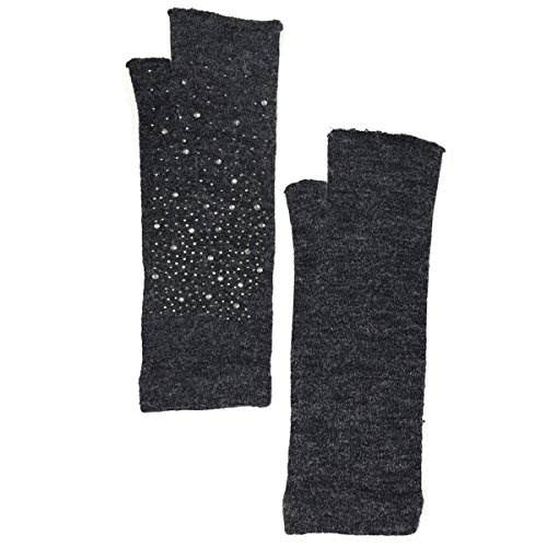 Wrapables Fairy Costume Arm Warmers With Rhinestones, Charcoal Gray