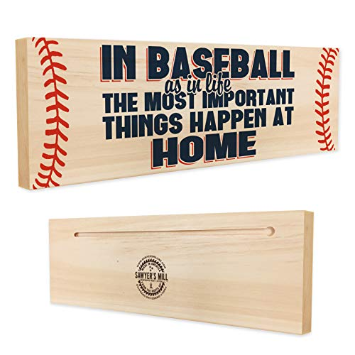 In Baseball, The Most Important Things Happen at Home | 4-inch by 12-inch Wooden Block Sign with Sports Family Quote | Perfect Gift for Baseball Fans Home Decor