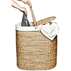 Seville Classics Water Hyacinth Oval Double Hamper, Hand-Woven