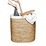 Seville Classics Water-Hyacinth Lidded Oval Double Laundry Hamper, Hand-Woven